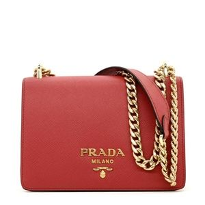 PRADA Saffiano Soft Chain Shoulder Bag Red & Black